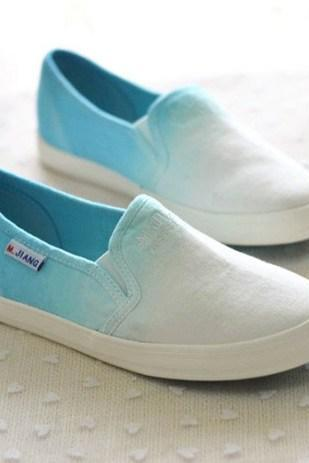 Gradient Colour Canvas Casual Slip-On Sneakers