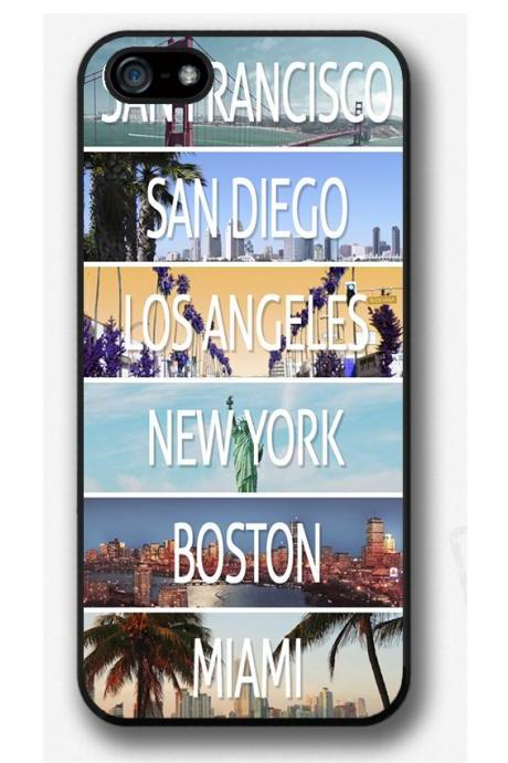 iPhone 4 4S 5 5S 5C case, iPhone 4 4S 5 5S 5C cover, San Francisco, New York, Boston, San Diego, Los Angeles, Miami
