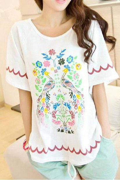Fashion Peacock Floral Printed loose T-shirt
