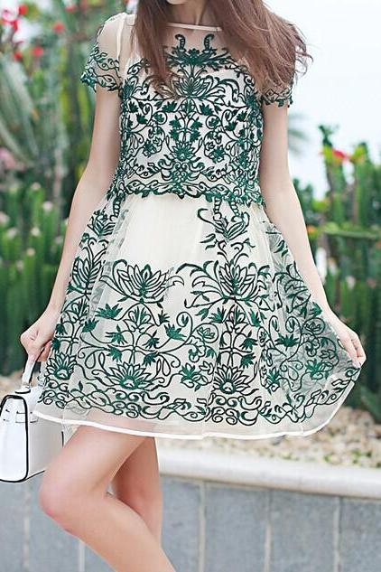 Stylish embroidered dresses+ blouses MX6124