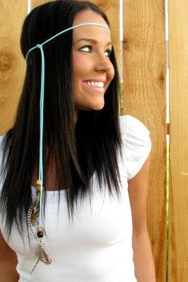 Boho Hippie Indian Blue Turquoise Suede Leather Cord w/ Wood Beads & Natural Feather Halo Hair Headband, Necklace Accessories, Girl Woman