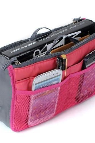 Lady Women Insert Handbag Organiser Purse/colors:wine ,green,blue,orange,gray,and pink