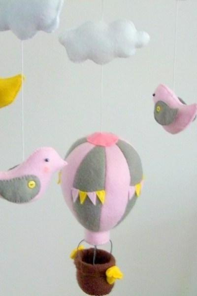 Baby crib mobile Grey & Pink hot air balloons handmade personalized felt baby shower gift