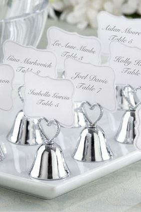 Classy & Sweet Silver or Gold 'Kissing Bell' Place Card & Photo Holder Wedding Favor 24
