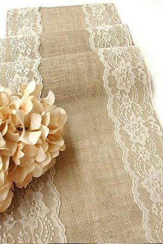 Rustic Chic Burlap Hand Made Wedding Table Runner w/ Country Cream Lace 70' x 12'