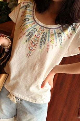 Fashion Feather Printed Cotton T-shirt