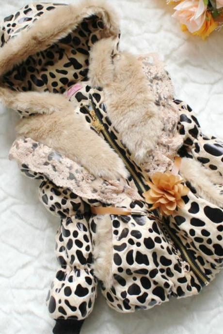 Leopard Faux Fur Jacket For Girls-Leopard Jacket For Girls With Hood and Laces