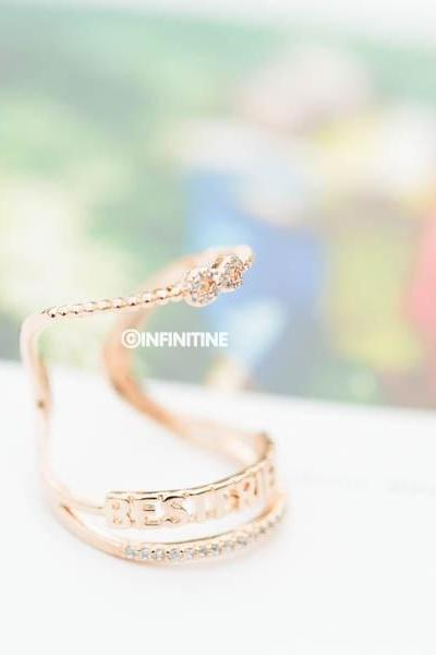 Rose gold Cz best friend adjustable ring ,best friend ring,best friends ring,infinity ring,infinity jewelry,eternity ring,open best friend ring,graduation ring,infinite ring,adjustable ring,unique ring,bridesmaid ring,anniversary ring,engagement ring,friendship ring,RN2999