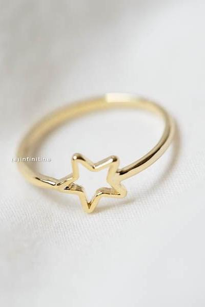 Gold mini star knuckling ring,open mini star knuckling ring, knuckle ring,brass knuckle,star ring,knuckle jewelry,mid knuckle ring,wedding ring,bridesmaid ring,bridesmaid gift,R068N