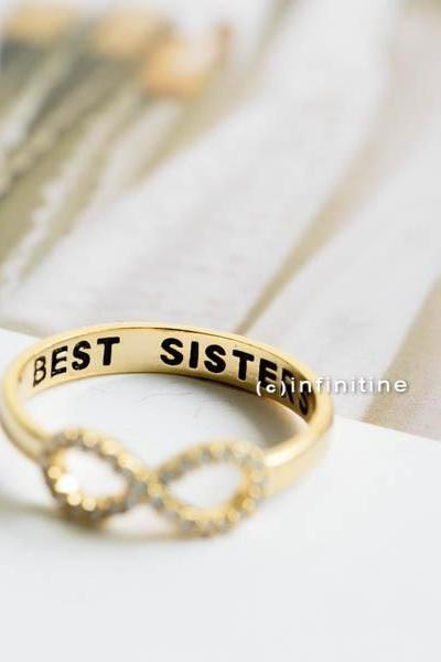 Gold Best sisters ring,Ring,bridesmaid gift,infinite,infinity ring,bridesmaid ring,friendship ring,best friend ring,all crystal ring,R405N