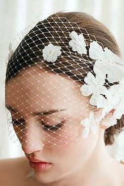 Beautiful & Classy Vintage Style Lace Flower Bridal Veil