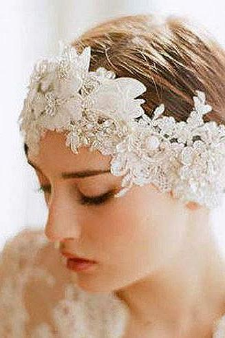 Luxurious Handmade Flower Lace Pearl Bridal Headband Veil