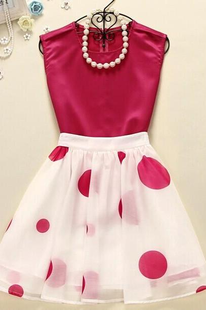 Vest + Polka Dot Skirt (two-piece) DG61425