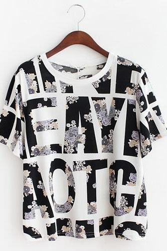 Retro Letters Graphic Floran Print Loose Short Sleeve T-shirt [ghyxh36254]