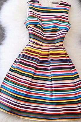 Luxury Designer Colorful Striped Dress