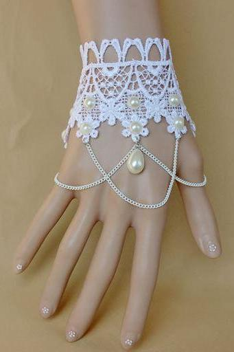 Romantic Vintage Style Lace & Faux Pearl Bridal Hand Chain Bracelet w/ Finger Ring