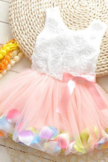 Pink Dress with Petals in the Hem and Pearls Decoration-Cute Baby Girls Dress