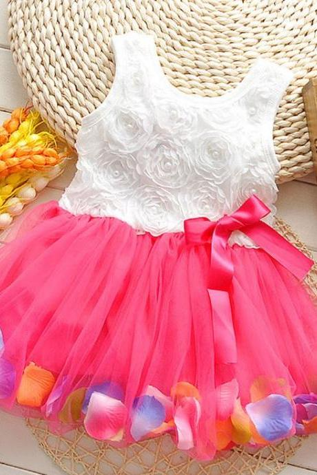 Red Dress with Petals in the Hem and Pearls Decoration-Cute Baby Girls Dress