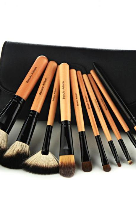 10 PCS Makeup Cosmetic Brush Tool Set with Black Pouch [grxjy5140029]