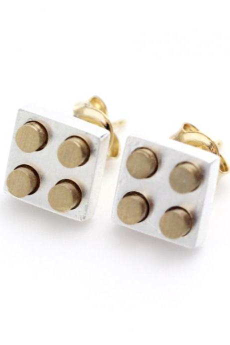 Gold and Silver Lego Block stud earrings in Silver