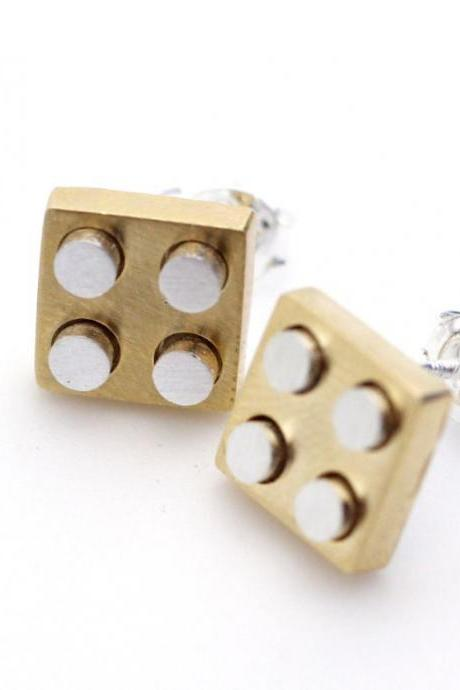 Gold and Silver Lego Block stud earrings in gold