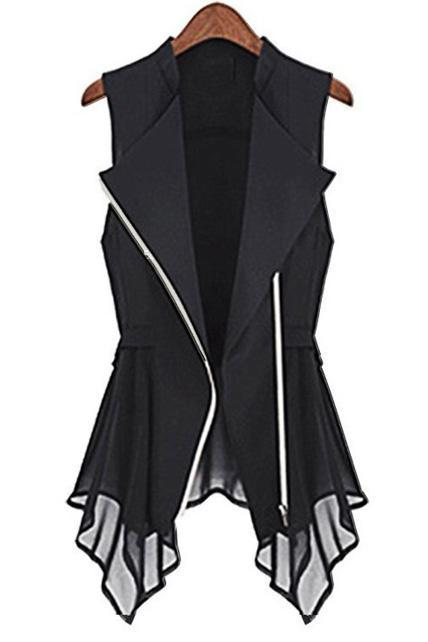 Casual Irregular Hem Turndown Collar Chiffon Vest For Lady - Black