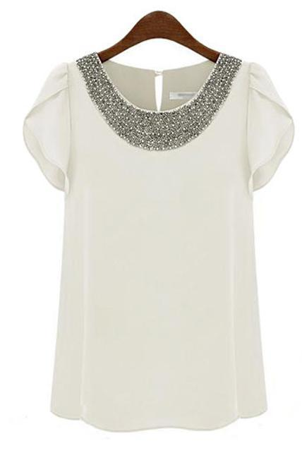 Luxury Lotus Leaf Sleeve Beading Round Neck Tees - White