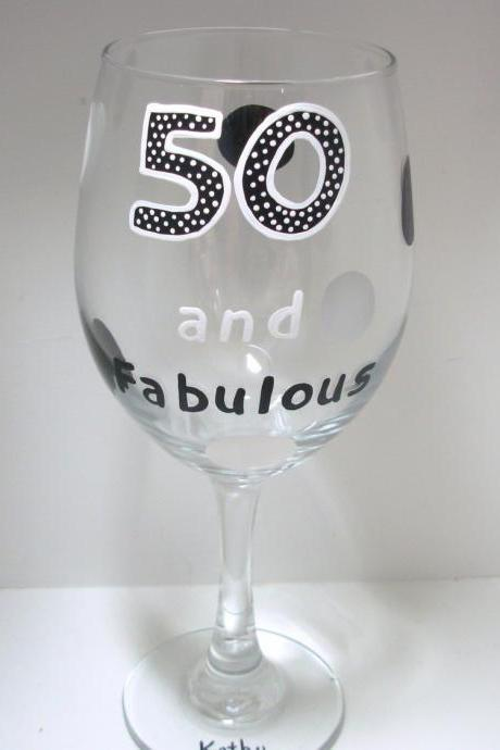 50th Birthday Wine Glass Handpainted Oversized