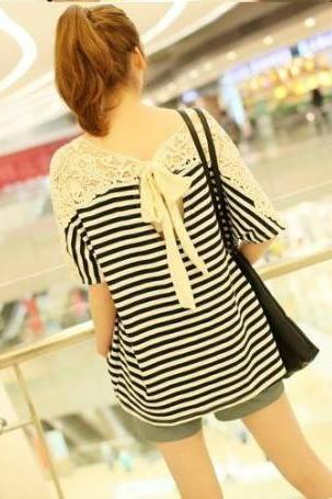Striped bow lace T-shirt DX619019