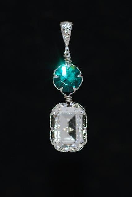 CZ Detailed Pendant with Swarovski Blue Zircon Round, Clear Octagon Crystals - Wedding Jewelry, Bridal Jewelery (P071)