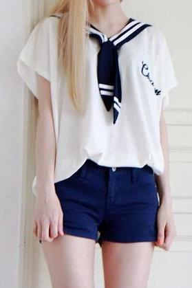 Navy Neck Long t-shirt