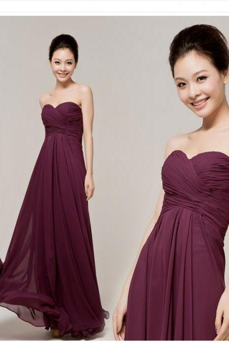 Custom Made Bridesmaid Dress/ Maxi - Sweet Heart Neckline - Chiffon Gown - Various Colors