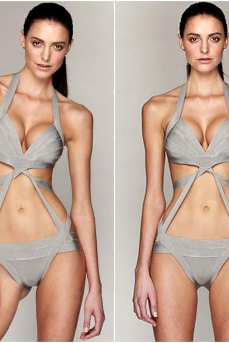 Solid Grey Sexy Luxury Bandage Design One Piece Swimsuit