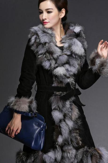 Black Coat Genuine Fox Fur Leather Pink Coat Jacket -Fox Fur Winter Coat-Genuine Fur Winter Coat for Women