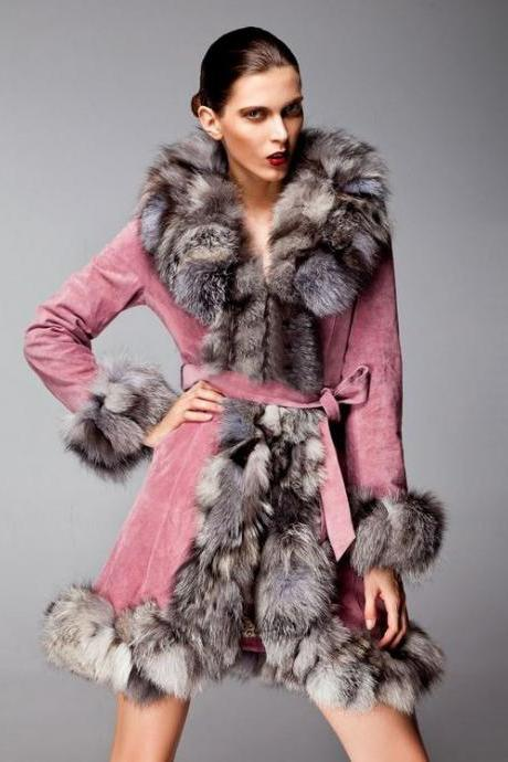Pink Coat Genuine Fox Fur Pig Leather Pink Coat Jacket -Fox Fur Winter Coat-Genuine Fur Winter Coat for Women