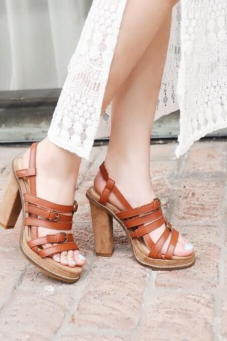 Leather sandals high-heeled sandals XXA621025