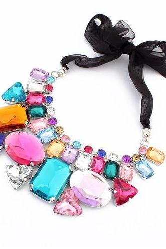 Candy color necklace jewelry necklace geometric choker short necklace