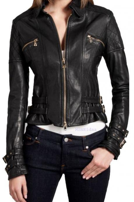 Women biker leather jacket, black real leather jacket with buckle belt