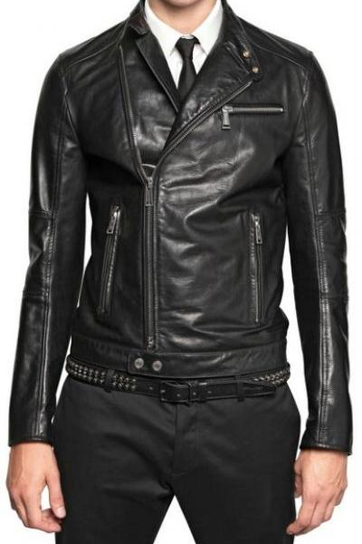 MENS SLIM-FIT LEATHER JACKET WITH ZIP POCKET, LEATHER JACKETS MEN'S