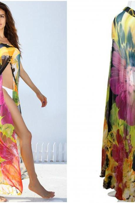Sexy Floral Printed Chiffon Beach Cover up