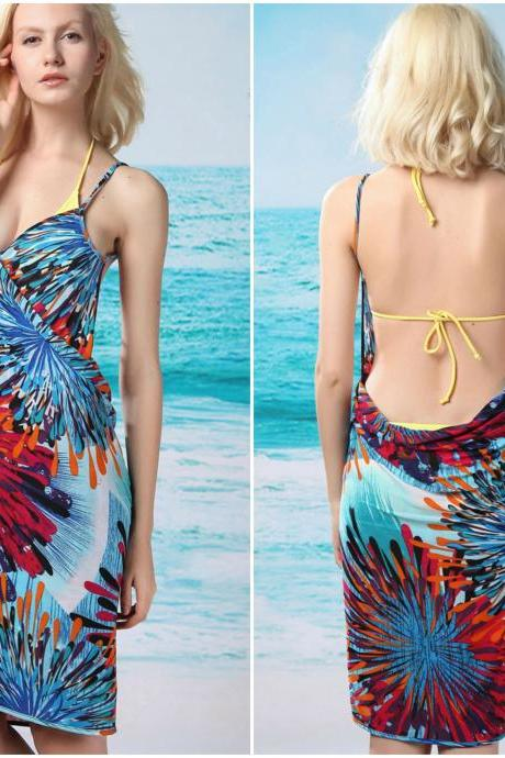 Sexy Printed Blue Beach Cover up Dress