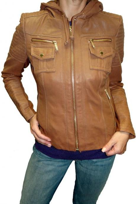 WOMENS HOODIE, BROWN HOODED LEATHER JACKET WOMEN'S