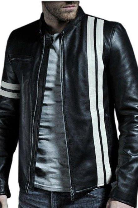 Mens Bomber Biker Motorcycle Jacket, men's biker jacket