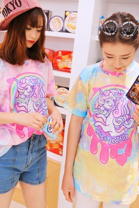 Summer T-shirt women 2014 New fashion High Quality Harajuku Style Galaxy Rainbow Unicorn Little Pony Loose Round Neck T shirt