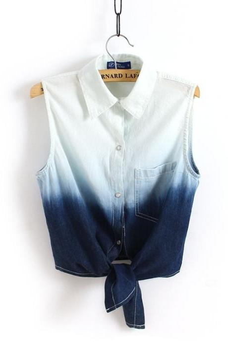 new sleeveless tun-down collar with pockets casual jeans short shirt Gradient vintage denim blouse summer