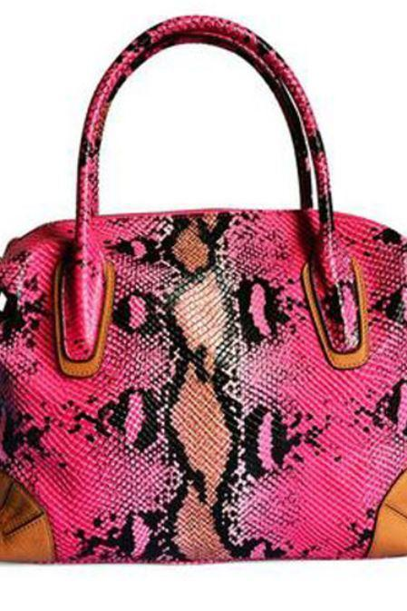 Luxury Bags for Women Genuine Cowhide Leather Embossed Snake Skin Pattern Pink Color