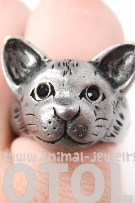 Realistic Kitty Cat Head Animal Shaped Ring in Silver - Size 7 ONLY