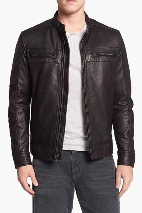 MENS SLIM-FIT LEATHER JACKET WITH ZIP POCKET, BIKER JACKETS MENS