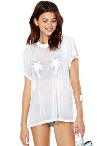 Women White acrylic T-shirt