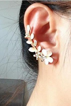 New Fashion Flower Shape Rhinestone Right Ear Cuff Clip Golden Earring Stud